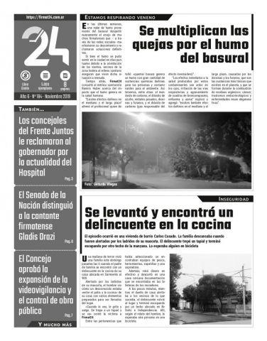 Tapa. Firmat24 periódico. Edición Nro 184.